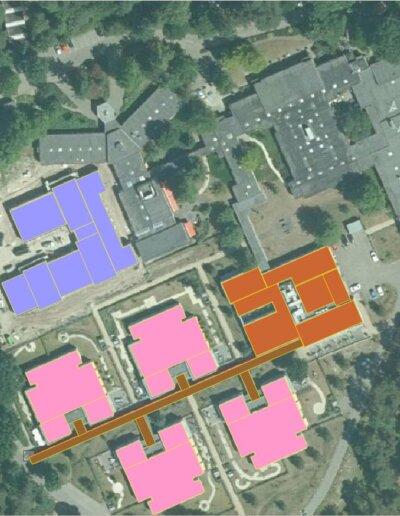 Topview daken Sonnevanck, roze daken panelen PCR